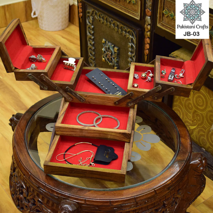Multi Portion Hexagonal Wooden Jewellery box