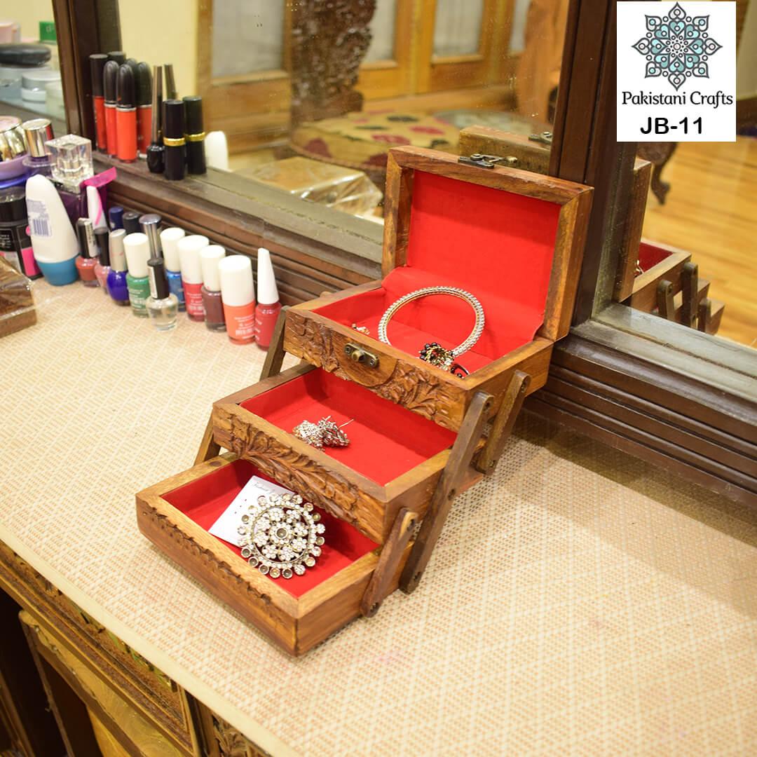 Stylish Wooden Carved Jewelry Box 3 Portion Jb 11