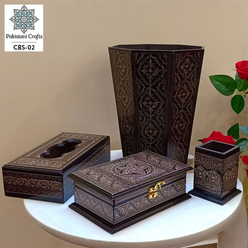 Pakistani Handicrafts Combo Deal of Dustbin, Tissue Box, Penconsol, Jewellry Box