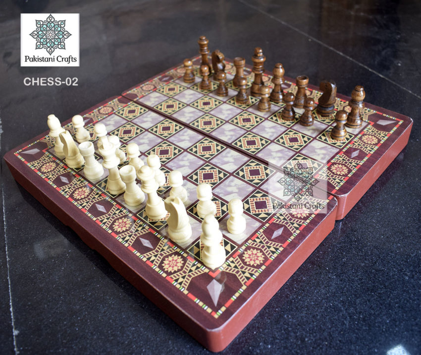 Wooden Chess Set Hand Painted Design