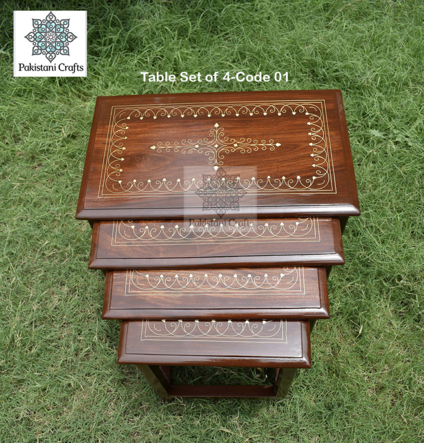 Solid wood carved tea whole tea table With Metal Brass Work