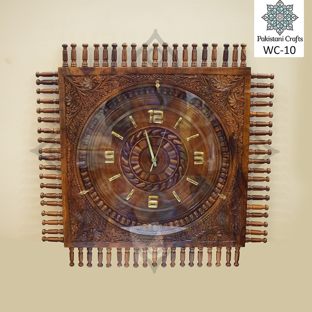 Wooden Carving Square Clock WC-10