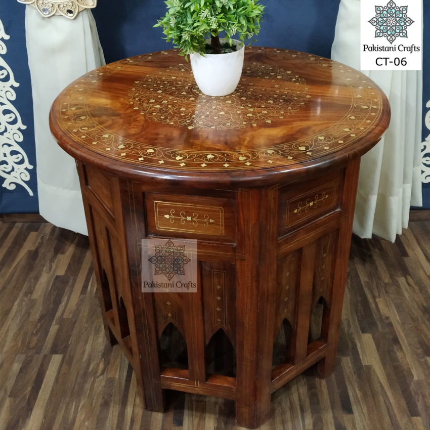 Hand Carved Round Side Table with Brass Inlay Pakistani Sheesham