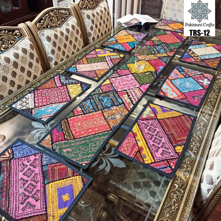 Sindhi Hand Embroidery Runner and Place Mat Set TRS-12