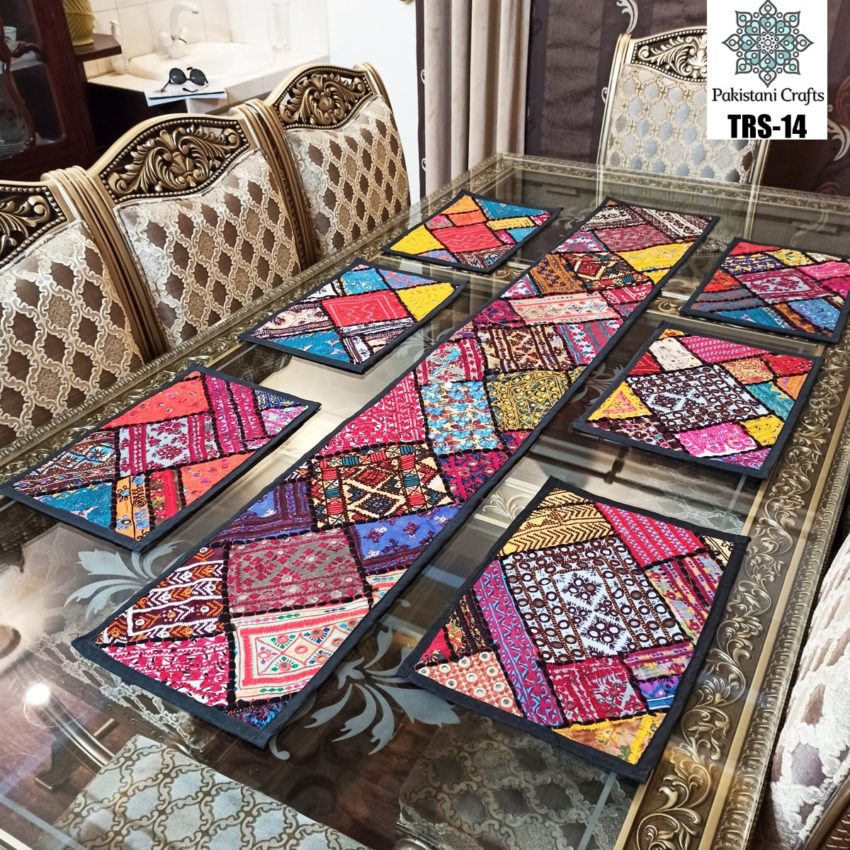 Sindhi Hand Embroidery Runner and Place Mat Set TRS-14