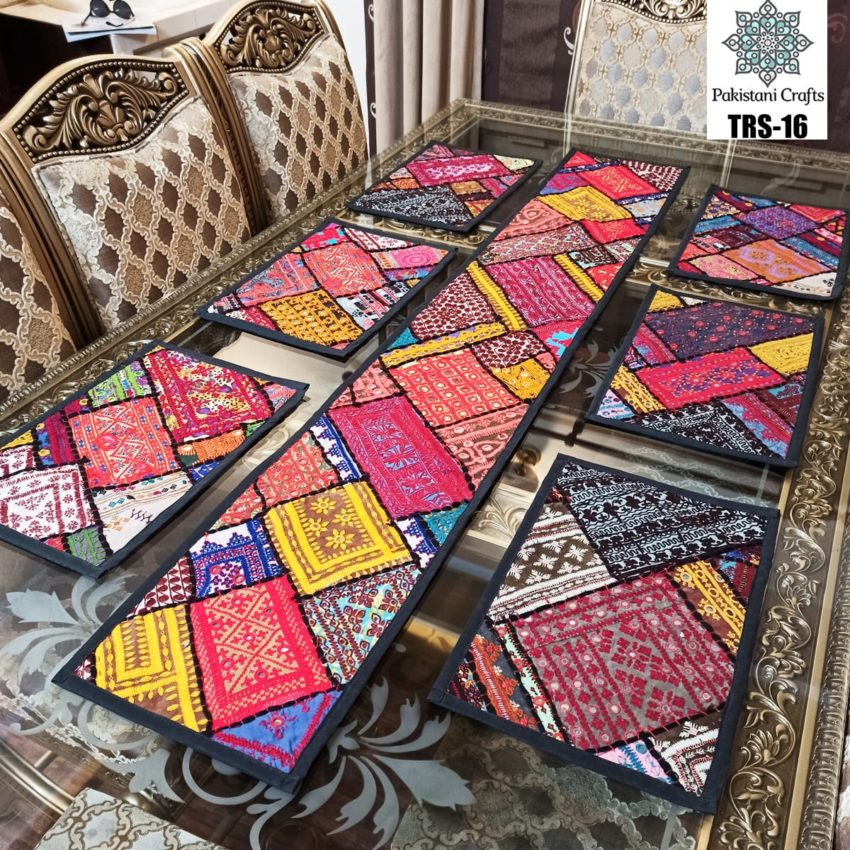 Sindhi Hand Embroidery Runner and Place Mat Set TRS-16