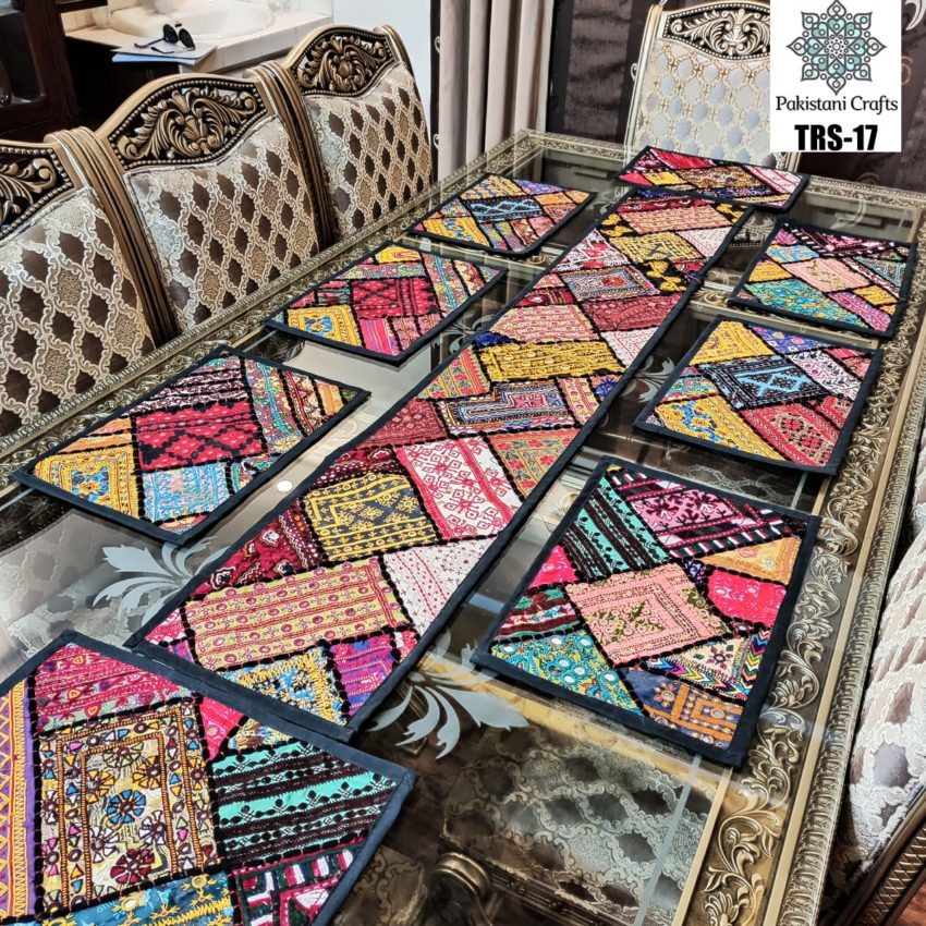 Sindhi Hand Embroidery Runner and Place Mat Set TRS-17