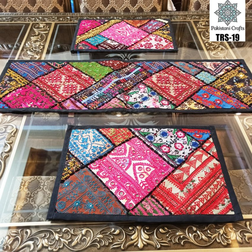 Sindhi Hand Embroidery Runner and Place Mat Set TRS-19