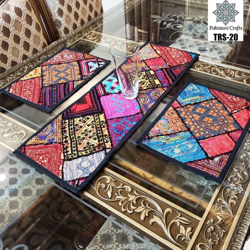 Sindhi Hand Embroidery Runner and Place Mat Set TRS-20