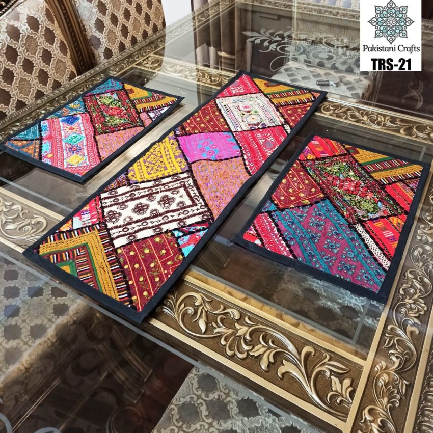 Sindhi Hand Embroidery Runner and Place Mat Set TRS-21