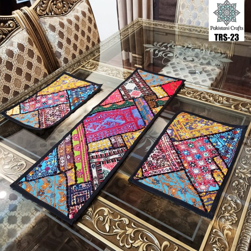 Sindhi Hand Embroidery Runner and Place Mat Set TRS-23