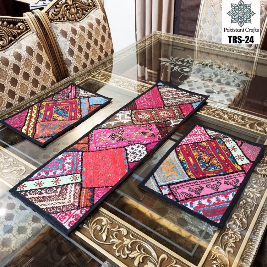 Sindhi Hand Embroidery Runner and Place Mat Set TRS-24