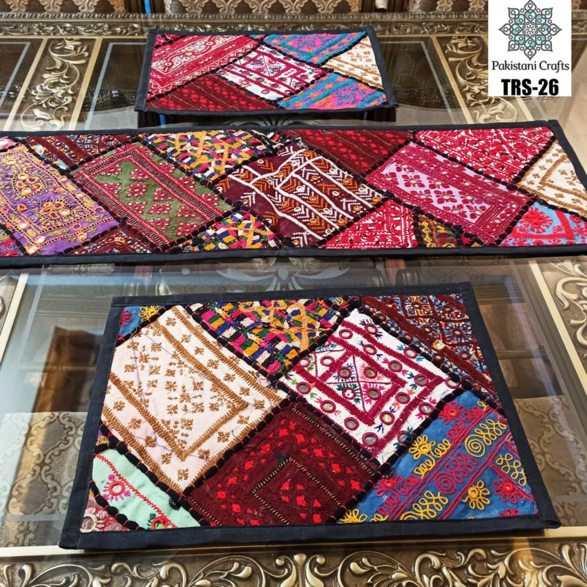 Sindhi Hand Embroidery Runner and Place Mat Set TRS-26