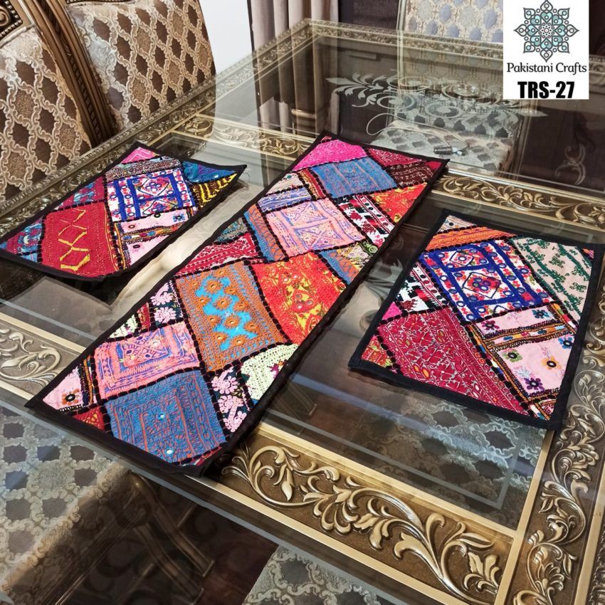 Sindhi Hand Embroidery Runner and Place Mat Set TRS-27