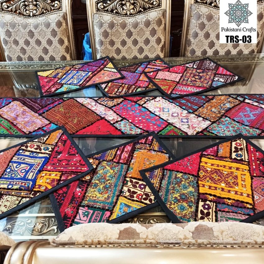 Sindhi Hand Embroidery Runner and Place Mat Set TRS-03
