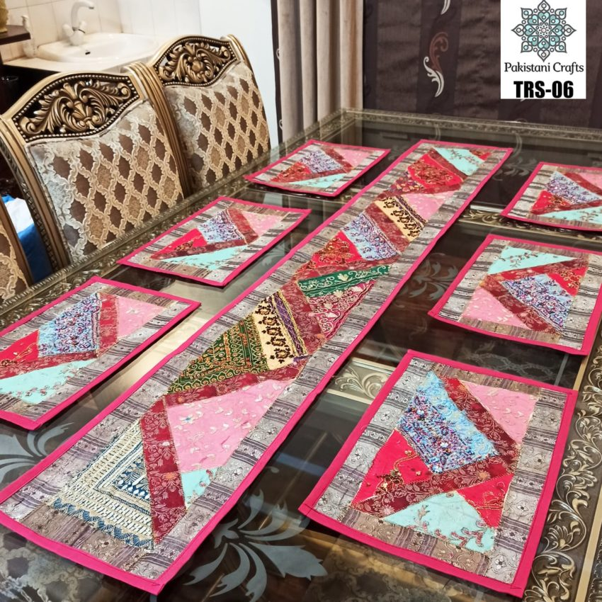 Sindhi Hand Embroidery Runner and Place Mat Set TRS-06