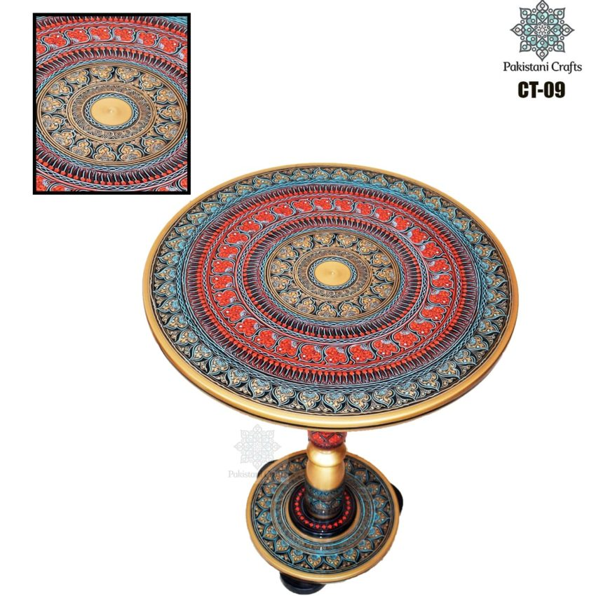 Red And Blue Lacquer Art Corner Table CT-09
