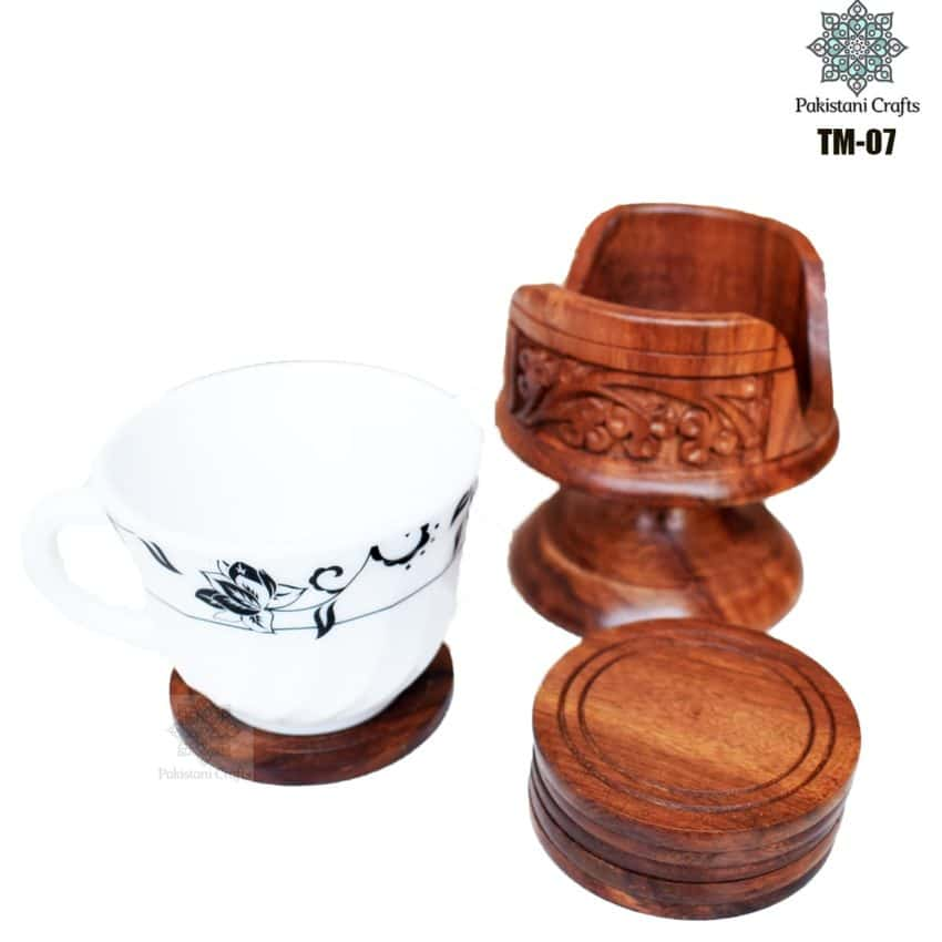 Wooden Tea Mat Set with Hand Art Work TM-07