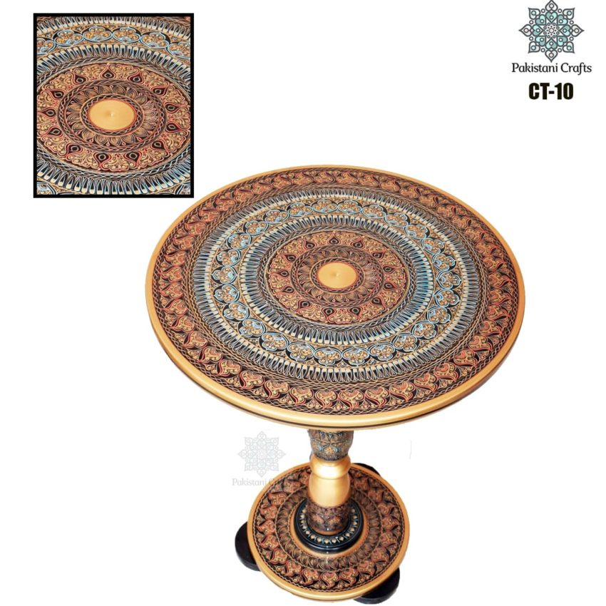 Brown Lacquer Art Corner Table CT-10