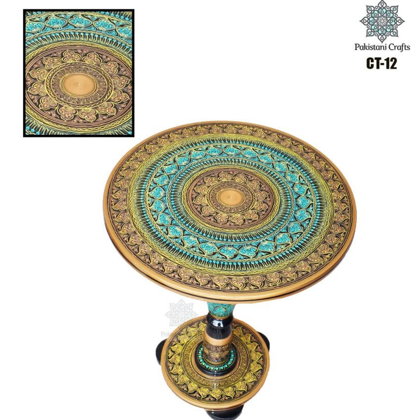 Dark Green Lacquer Art Corner Table CT-12