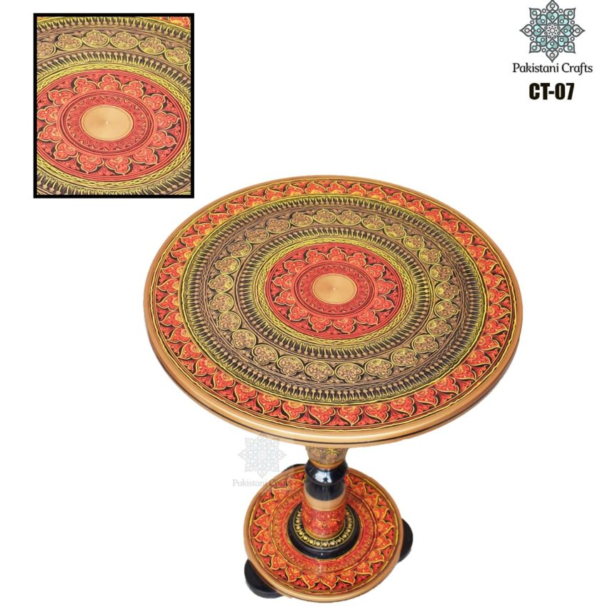 Dark Red Lacquer Art Corner Table CT-07