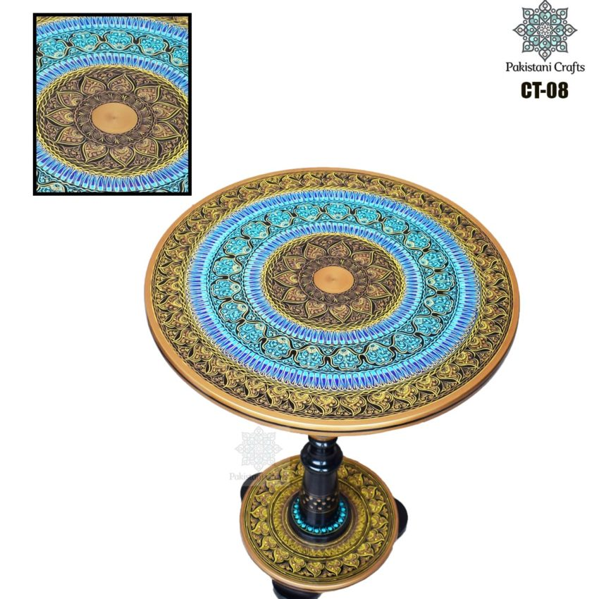 Blue Lacquer Art Corner Table CT-08