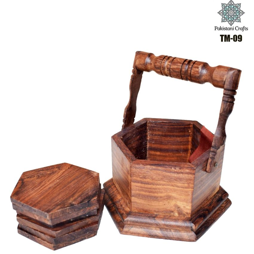Wooden Tea Mat Set with Hand Art Work TM-09