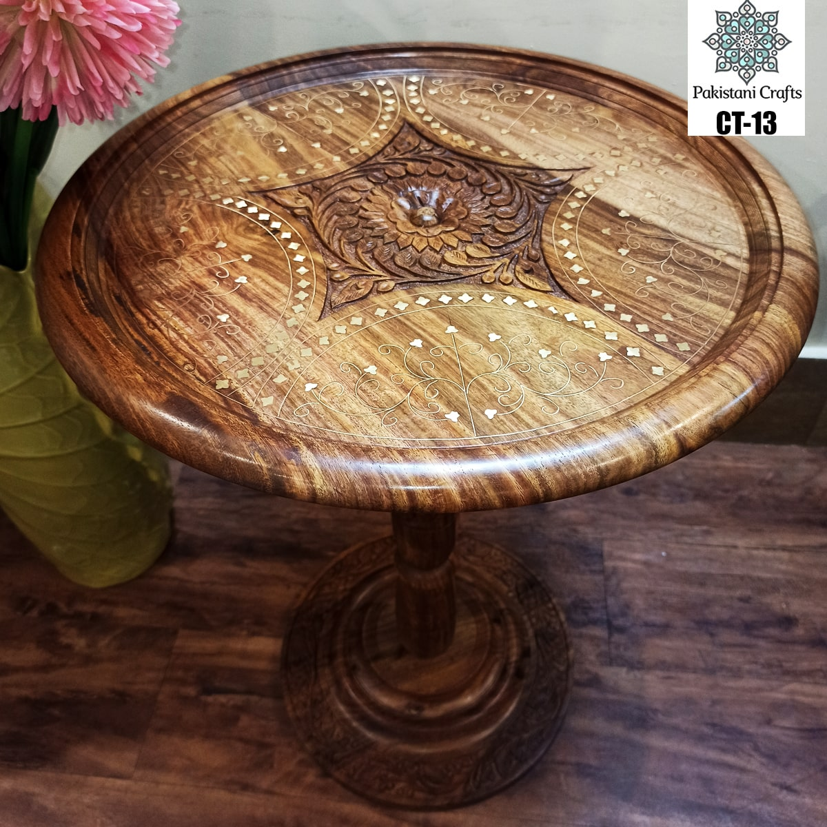 Round Wooden Corner Table With Carving Art And Brass Work