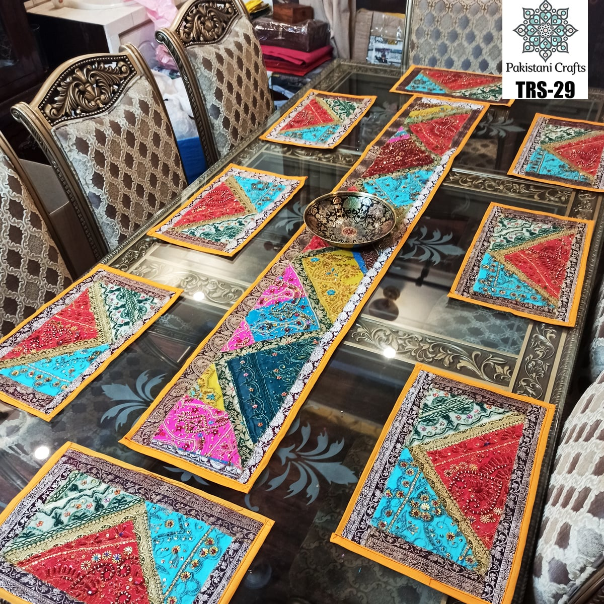 Sindhi Hand Embroidery Runner and Place Mat Set TRS-29a