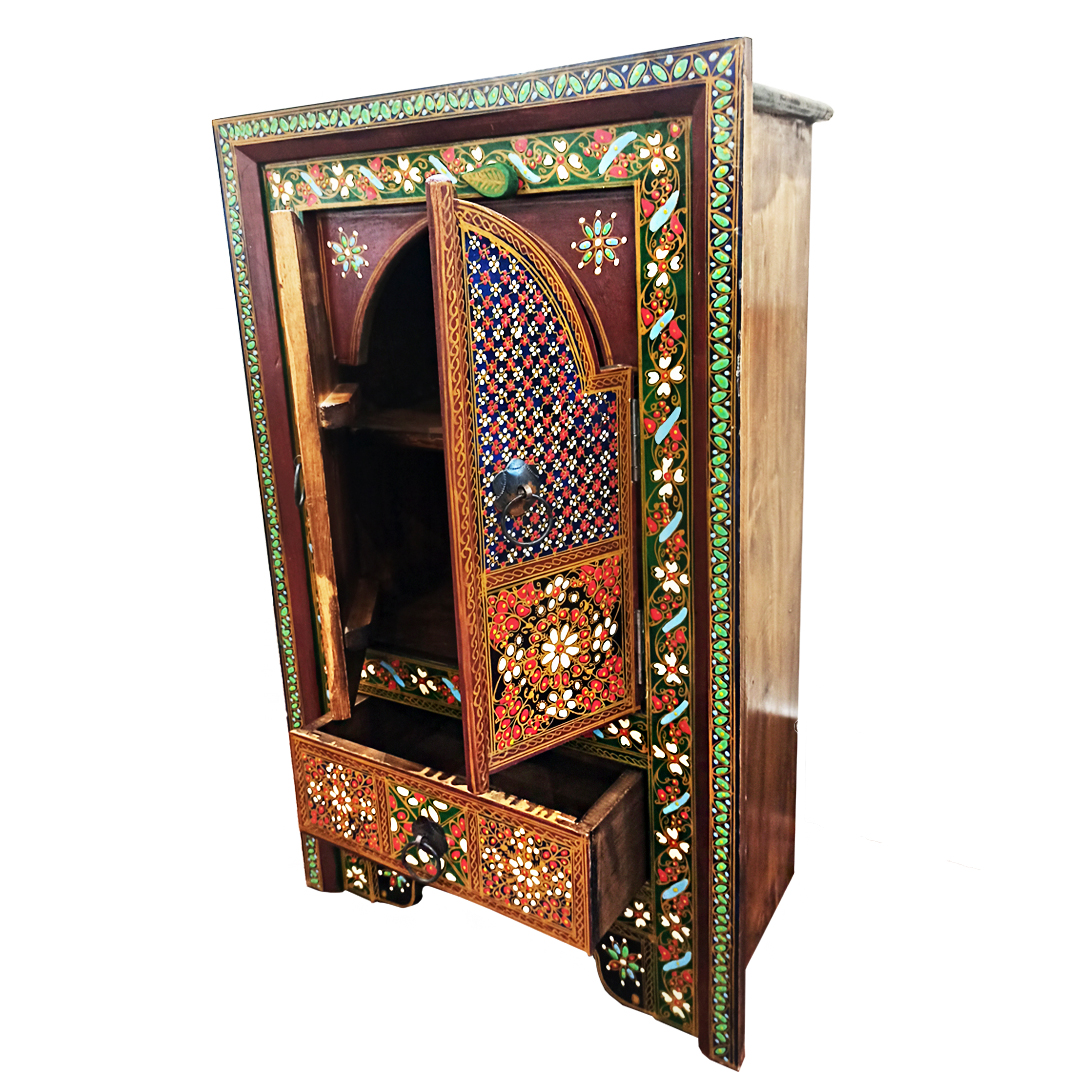 Hand Crafted Wooden Chester Double Door with Drawers Swati Furiture