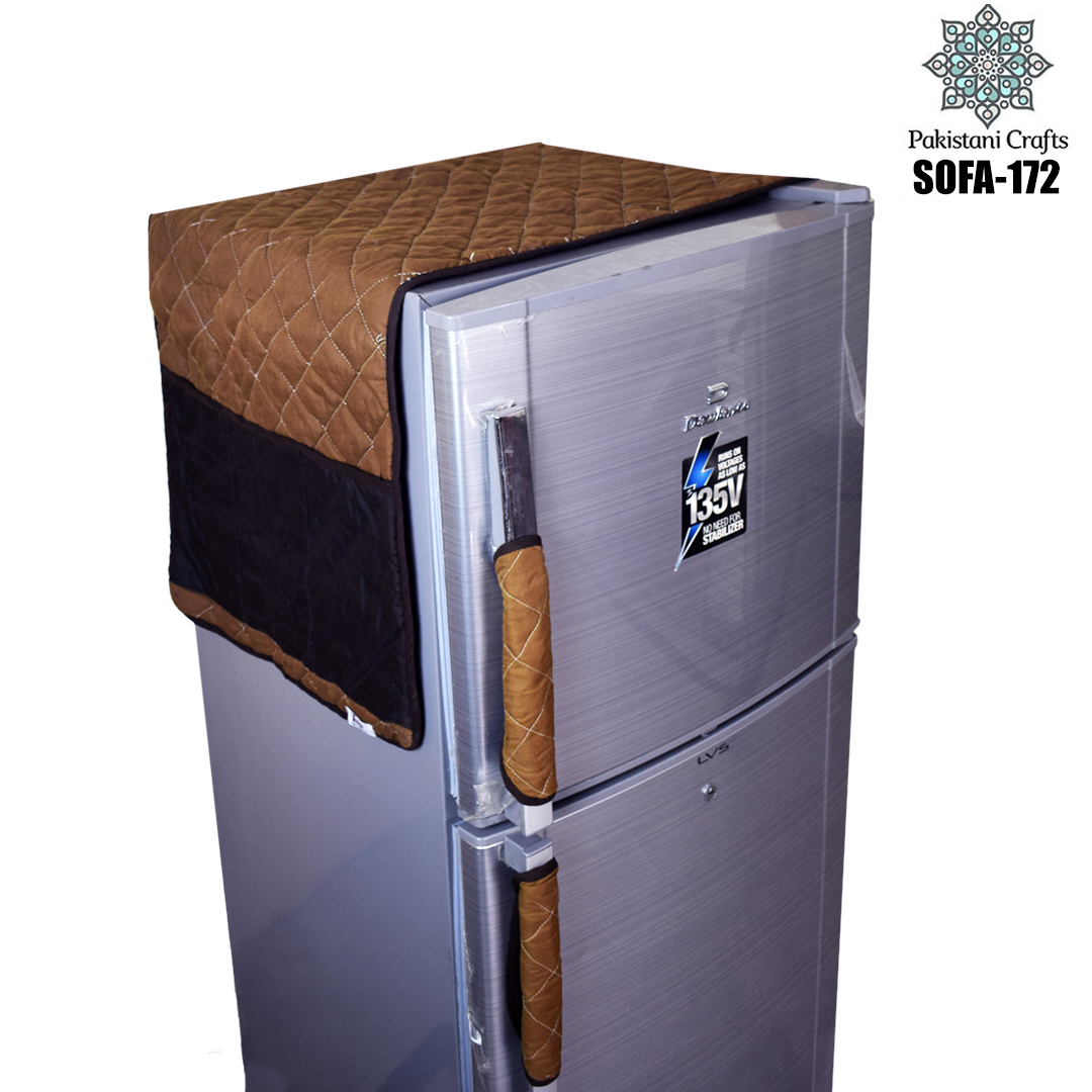 Pakistani Crafts designed an exclusive range of Fridge or Refrigerator  Top Cover. This set includes one quilted Fridge top cover with side pockets and two handle cover in the same design.