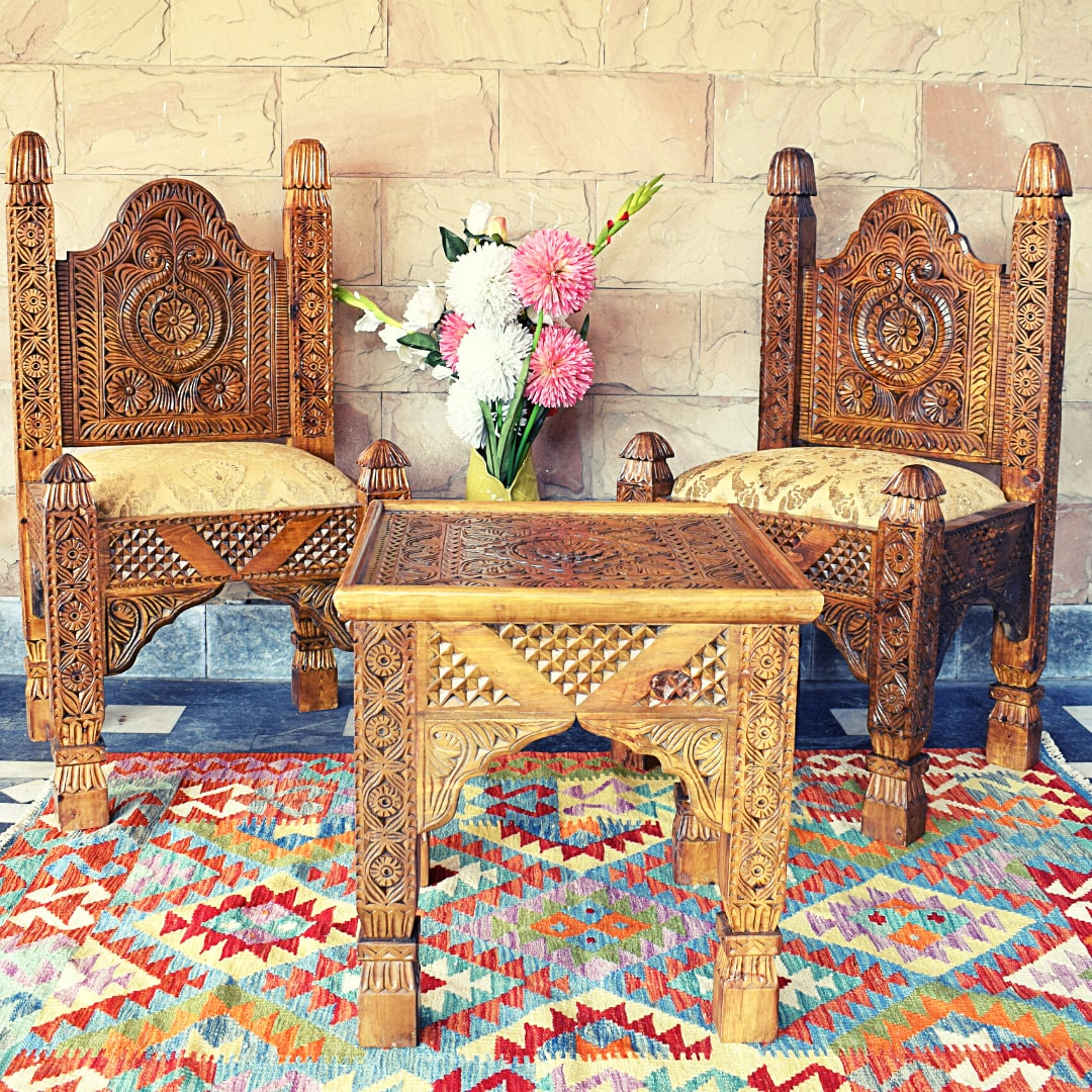 Traditional lobby Chair Set with Traditional Style Swati art work