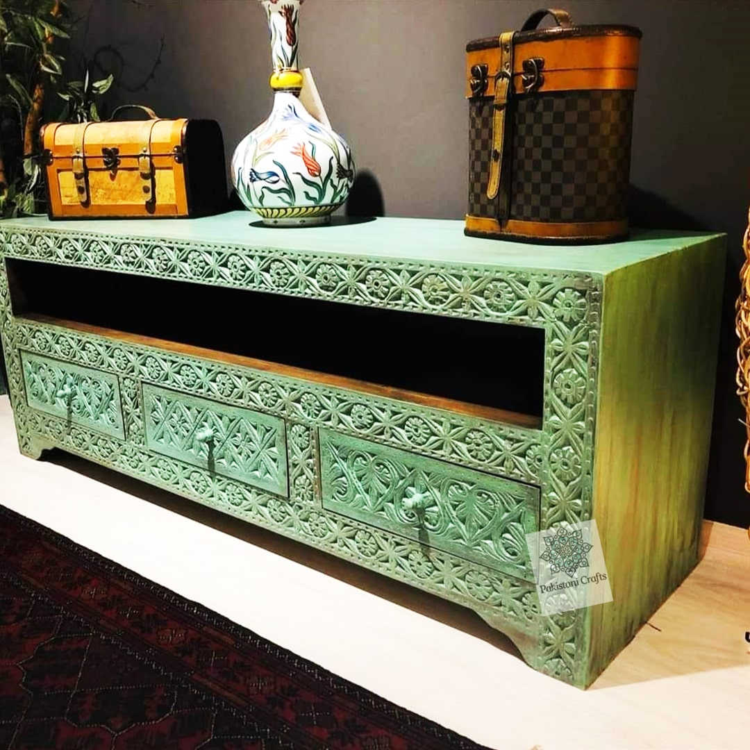 Handmade Traditional Wooden Console Swati Artwork