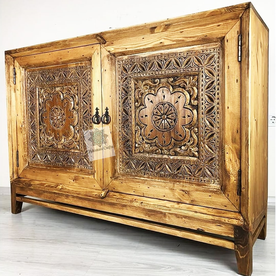 Traditional Wooden Console Swati Artwork
