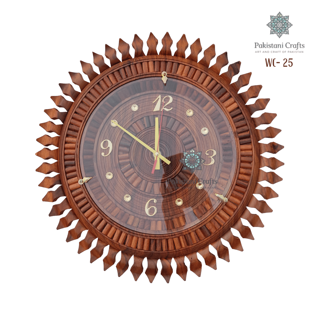Wooden Wall Clock Traditional Sun Style