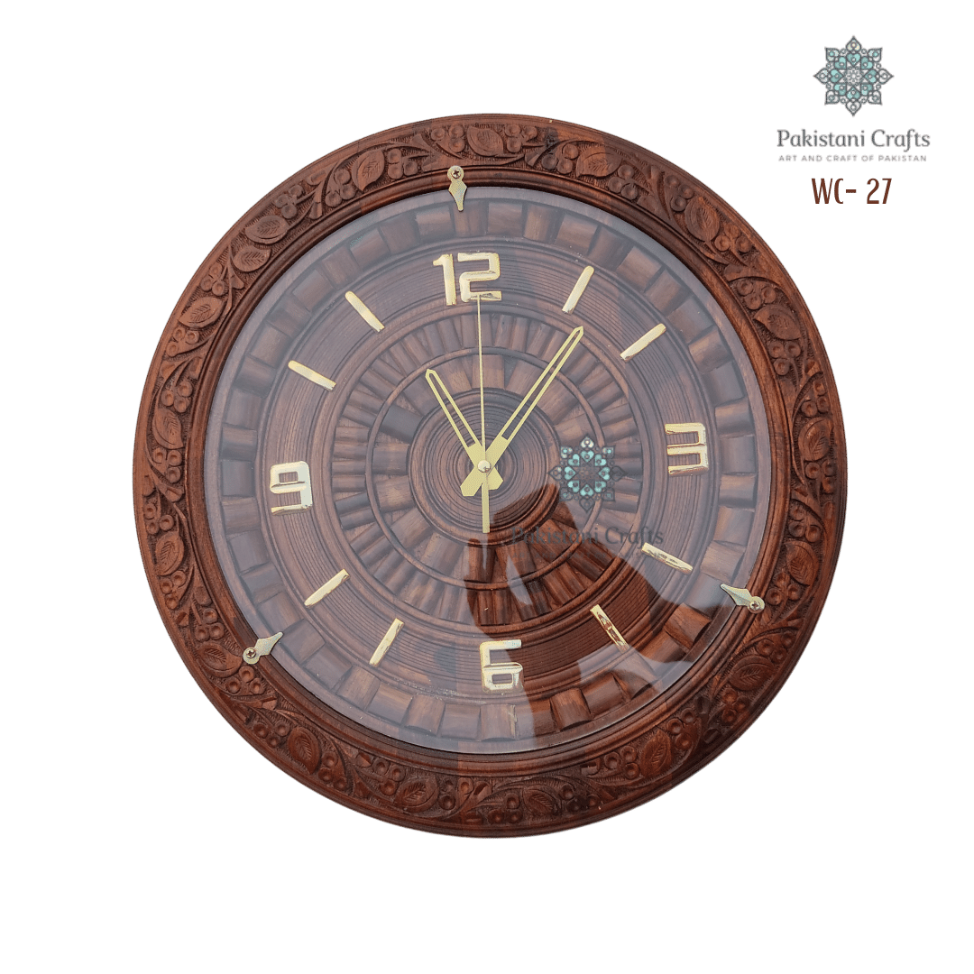 Wooden Wall Clock Traditional Carving Style