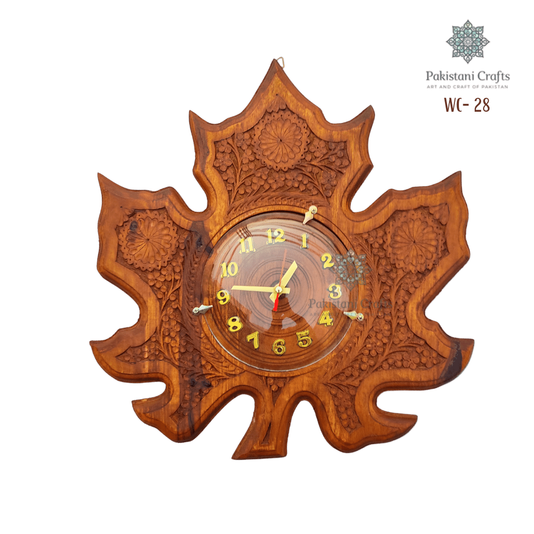 Wooden Wall Clock Maple Leaf Carving Style