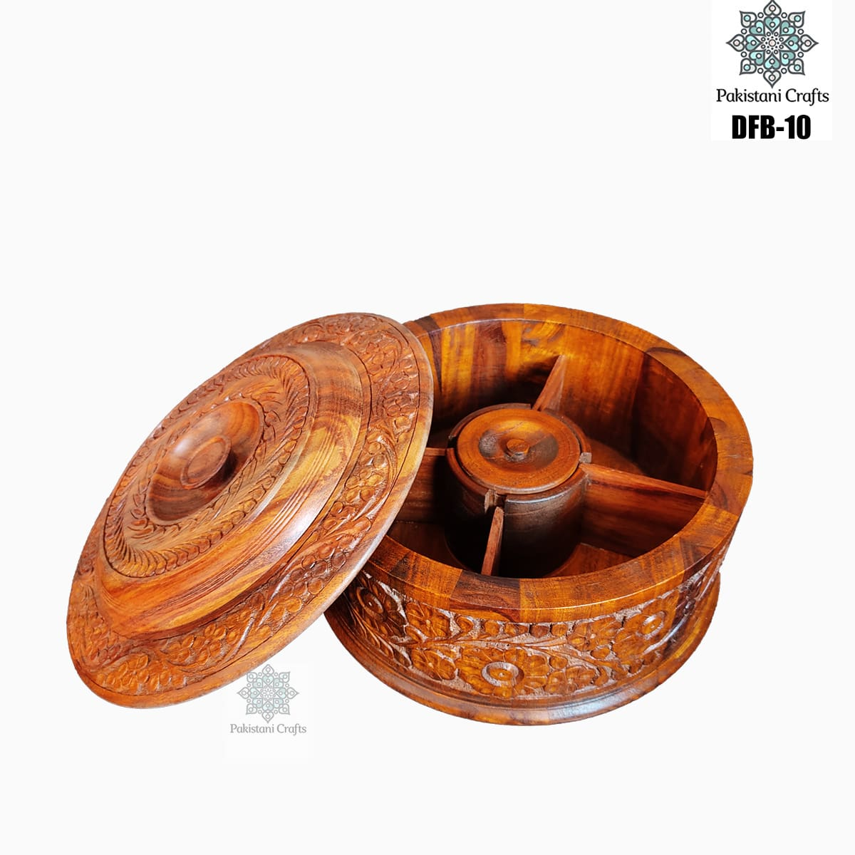 Round Shape Wooden Dry Fruit Box with 4 Portions - DFB-10
