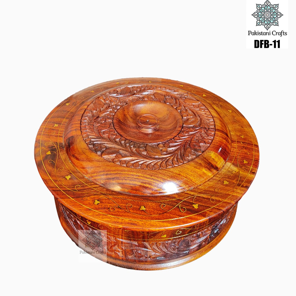 Round Shape Wooden Dry Fruit Box with 4 Portions - DFB-11