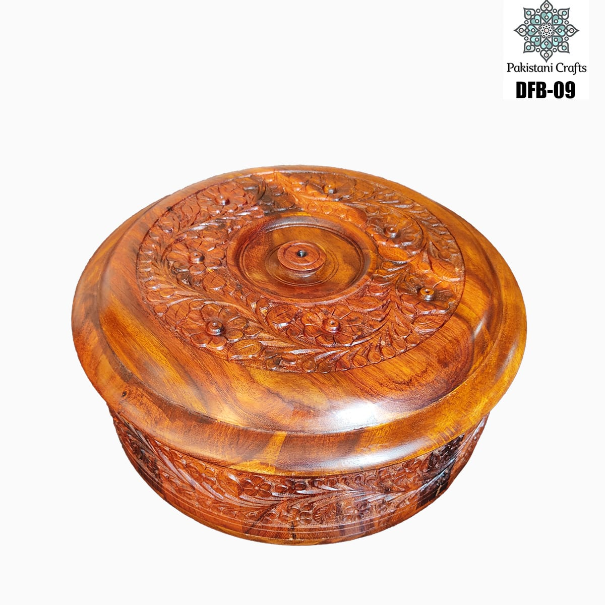 Round Shape Wooden Dry Fruit Box with 4 Portions - DFB-09