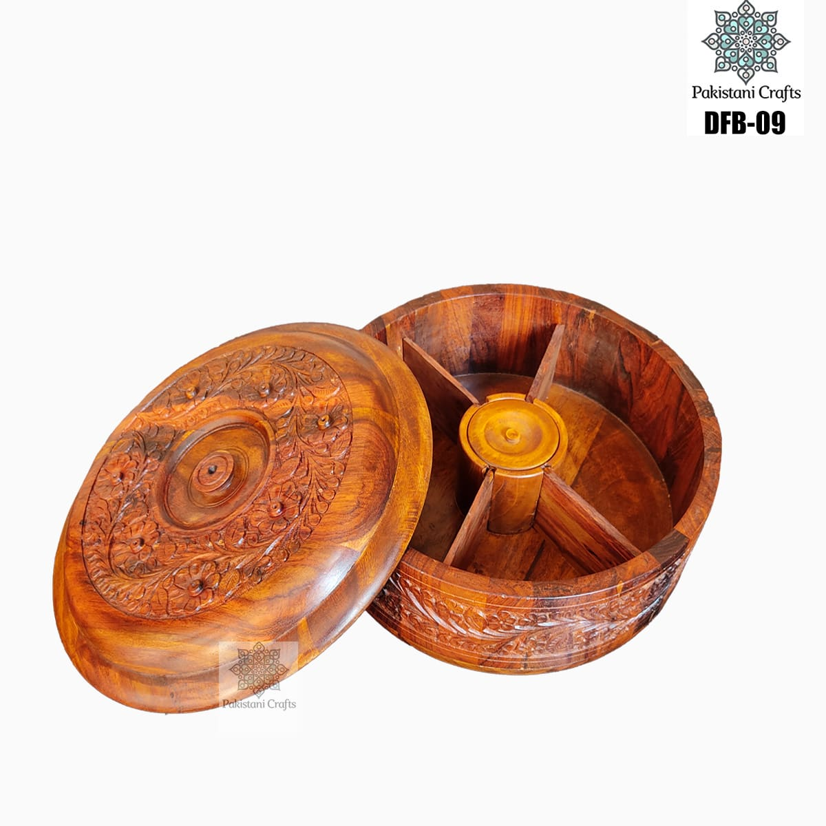 Round Shape Wooden Dry Fruit Box with 4 Portions – DFB-09