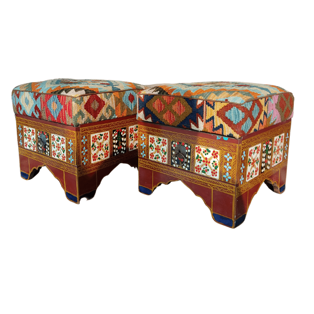 Ottoman Set with kilim fitting With Drawer