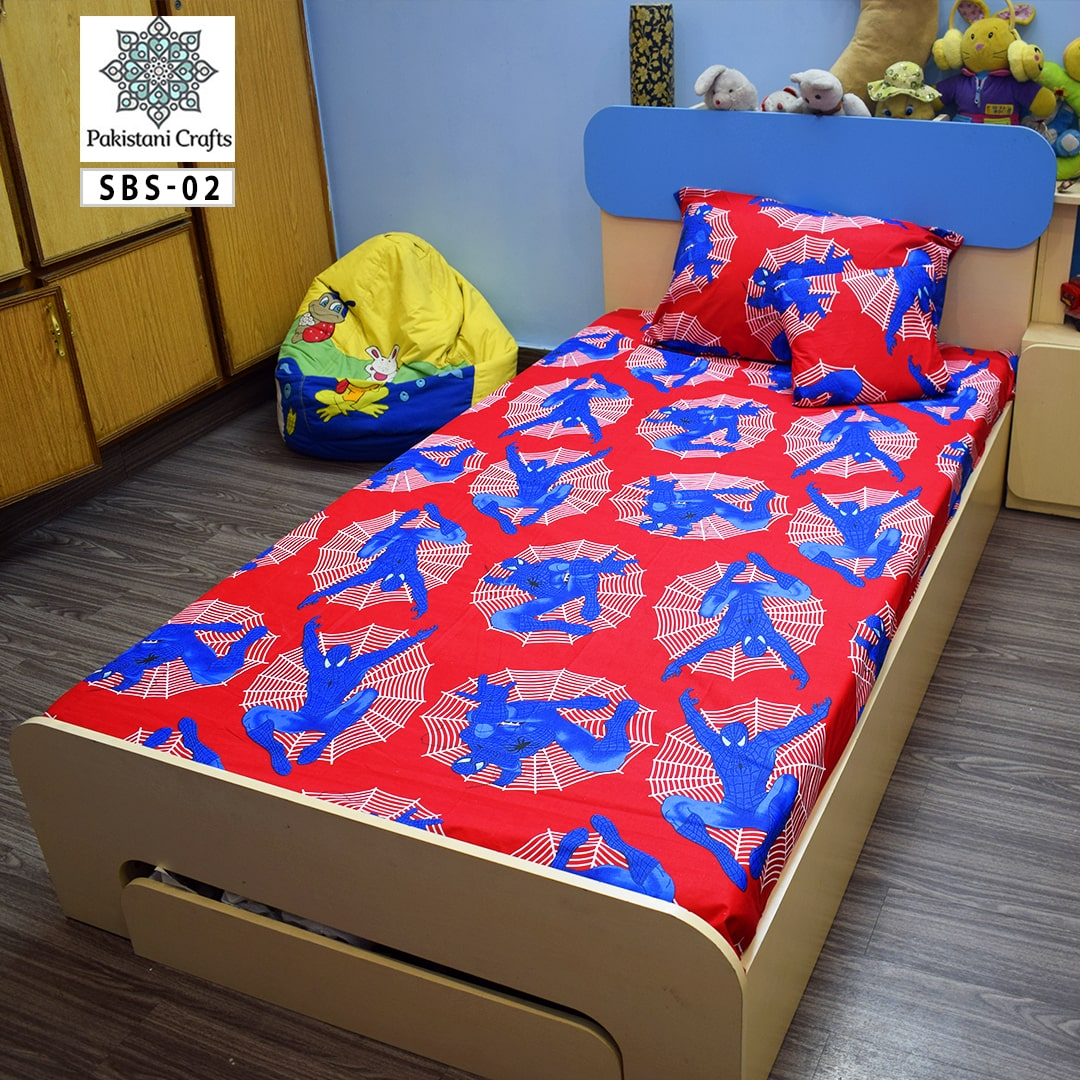 Spider Man Printed Single Bed Sheet Kids Bedding
