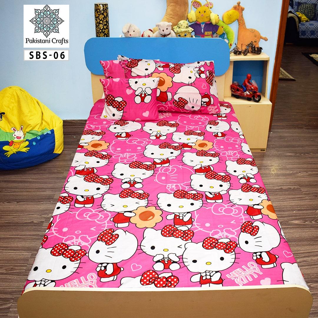 Kitty Printed Single Bed Sheet Kids Bedding