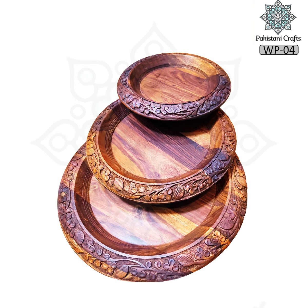 Wooden Plate, Wood Dinner Plates, Round Wood Plates Set of 3